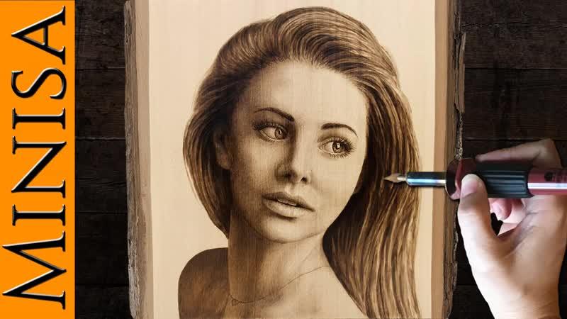 Портрет Выжигание на слэбе липы Minisa Art and Pyrography