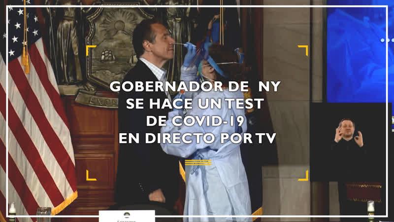 Gobernador de Nueva York se hace un test de Covid 19 en directo por TV