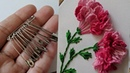 Amazing 3d Hand Embroidery flower design trick with sefaty Embroidery Brazilian stitch