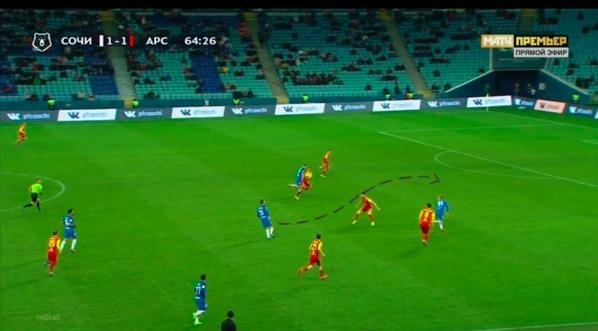 Бурмистров в касание забрасывает мяч за уши оставшемуся в полупозиции Беяеву. Кокорин уже там.