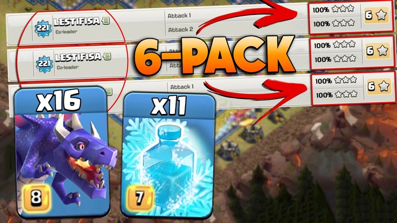 War 6 PACK Attack Mass 16 Dragon Mass 11 Freeze Spell How to use mass Freeze in War TH13 Bases