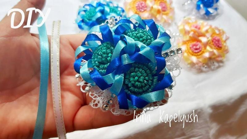Простые Цветы из ленты 6 мм.Simple Flowers from 6 mm ribbon. Гади чәчәкләр Арасыннан Тасмалар Таратк