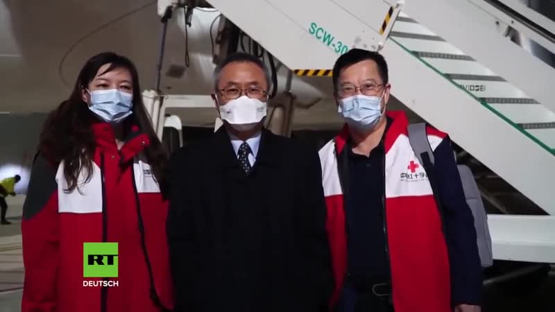 Italien Chinesisches Rotes Kreuz bringt xc4 rzte und medizinische Hilfsg xfc ter gegen das Corona Virus