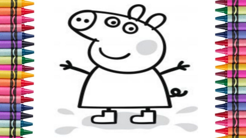 Coloriamo disegno Peppa pig con Sofi Meri е facciamo con glitter impariamo i colori