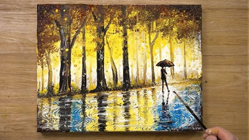 'The Rainy Day' Cotton Swabs Painting Technique 430
