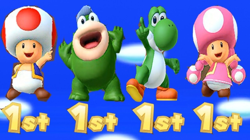 Mario Party 10 Minigames Yoshi vs Toad vs Toadette vs Spike Wii U Master Difficulty