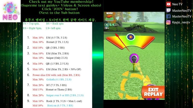 Golf Clash 골프클래시 16 Pro play through cheat sheet Redwood Cup Tournament! 프로 공략
