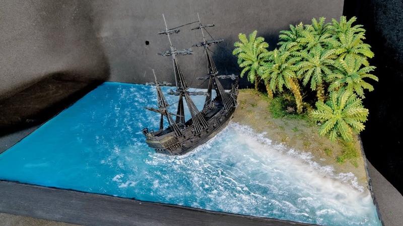ДИОРАМА с КОРАБЛЕМ Черная жемчужина стоит у острова СВОИМИ РУКАМИ в масштабе 1350. Ship diorama.