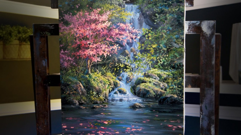Flowering Tree Waterfall | Paint with Kevin ®
