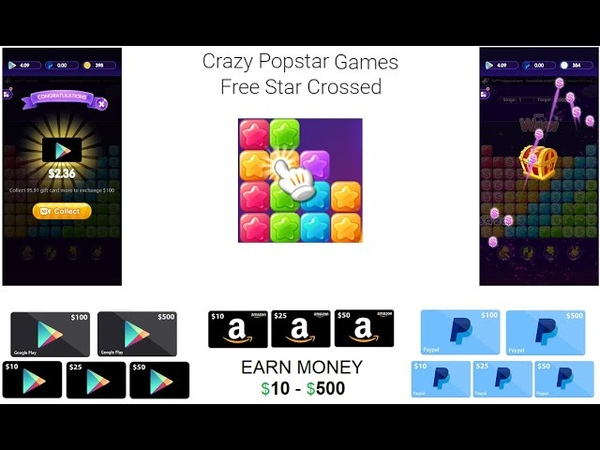 NEW APP Crazy Popstar | EARN $10-$500 PayPal Amazon Google Gift عوده التطبيقات الرائعه
