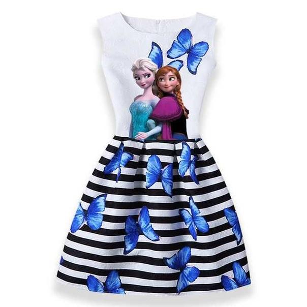 Здравствуйте Ваша маленькая принцесса мечтает оказаться в сказке и быть героиней сказки Disney Холодное сердцеЕсли Да, то предлагаю вам платье на любой вкус из данной коллекции! Размеры: 2Т,