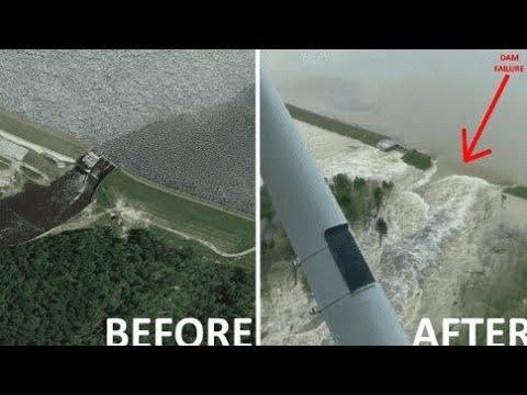 🌍 Прорыв дамбы в Эденвилле Мичиган Edenville Dam Michigan Breakthrough
