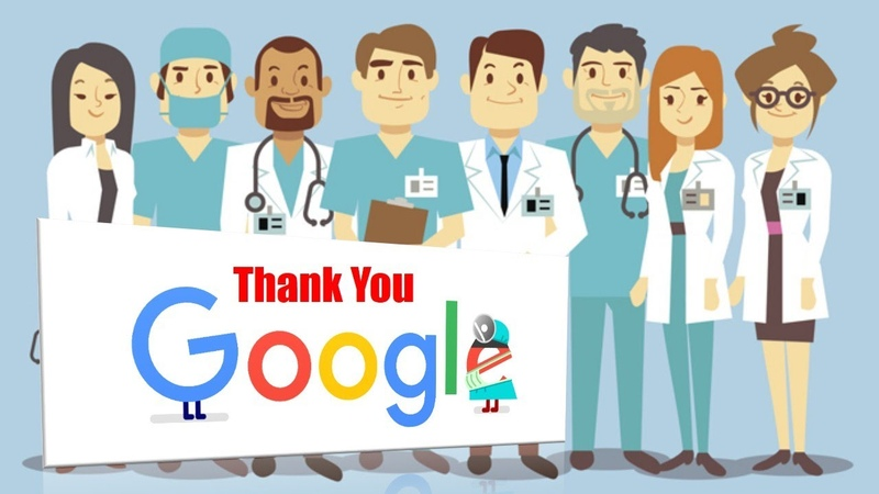 医療従事者 コロナ 応援 Thank You Doctors nurses and medical workers with Google says with Doodle Series