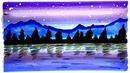 Как нарисовать Пейзаж маркерами | Рисунки Юльки для срисовки | Просто рисуем ночной пейзаж