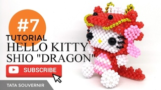 DIY How to Bead Hello Kitty Dragon Part 7 / Hello Kitty de Miçangas /Kerajinan Manik /Manik Mote