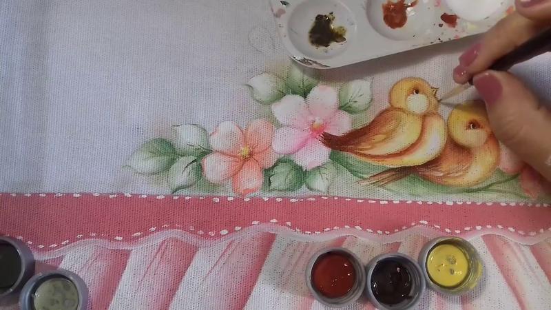Pintura em Tecido Aprenda Pintar Passarinho Florzinhas Folhas e Fundo