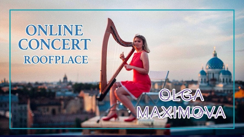 Concert Online Olga Maximova on the shore of the Gulf of Finland. RoofPlace. Harp Live Music
