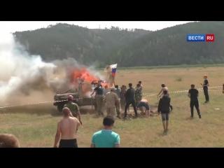 УАЗ взорвался и загорелся на соревнованиях джиперов в Забайкалье