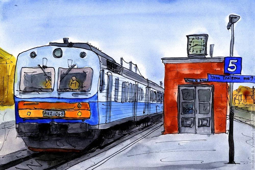 Поезд картинки нарисованные