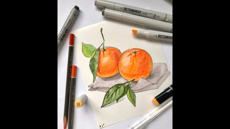 Рисуем мандарины маркерами