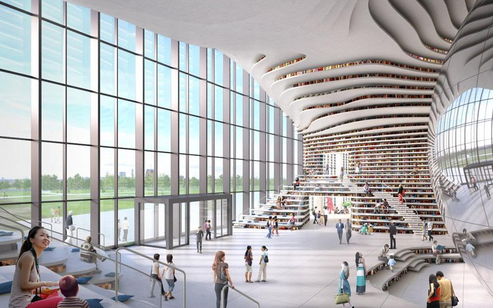 #библиотека #Биньхай по проекту #MVRDV стала одним из пяти учреждений культуры, объединенных в компактный массивный комплекс, 31 600 кв.