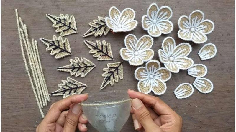 DIY Jute Burlap Flower And vase Craft Ideas    Home Decorating Burlap Flowers For Crafts