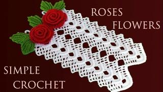 Como tejer a crochet tapete cortina de rosas 3D en punto en relieve tejido con ganchillo