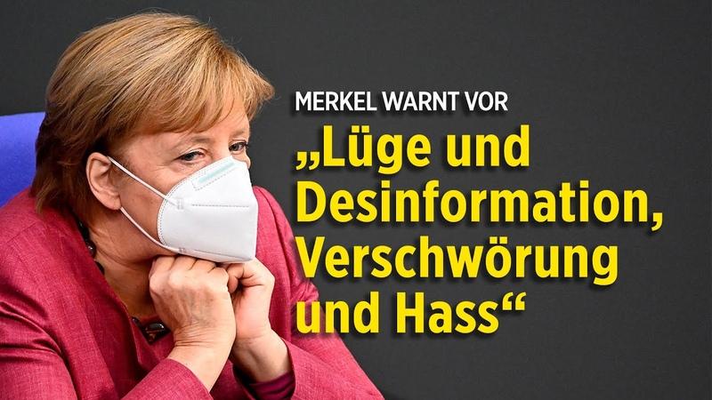 Merkel verteidigt Lockdown und warnt vor Lüge und Desinformationen Rede wird unterbrochen