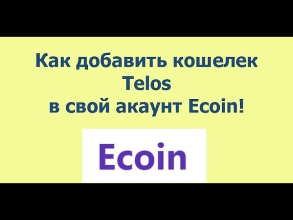 Как добавить свой кошелек Telos у себя в аккаунте Ecoin