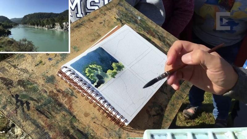 Акварель. Бесплатный урок по рисованию Сергея Курбатова. Watercolor landscape (free lesson).